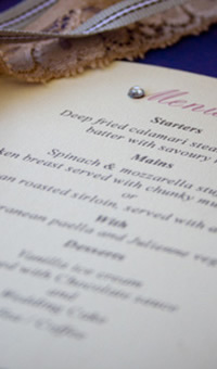 Handmade wedding menus by Golda Publishing